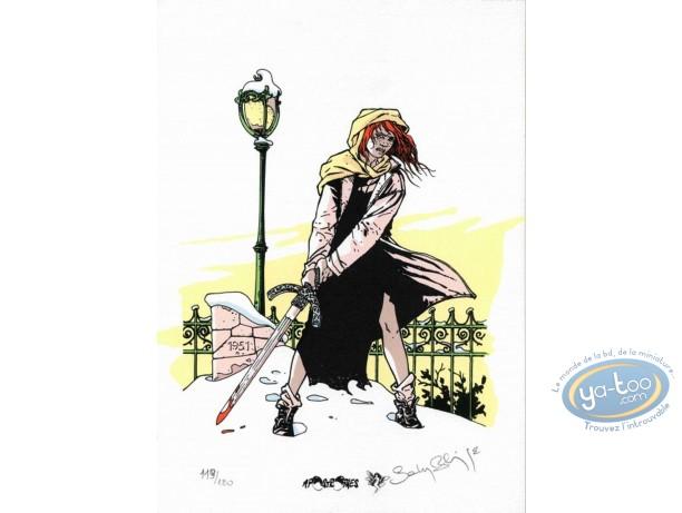 Ex-libris Sérigraphie, Mandrill : Fille à l'épée