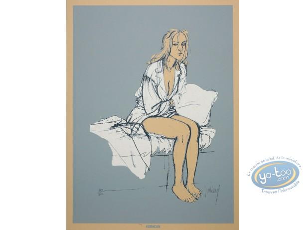 Affiche Sérigraphie, Plume aux Vents : Ariane assise sur un lit