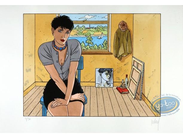 Pochoir, Cahier Bleu (Le) : Louise assise dans une chambre