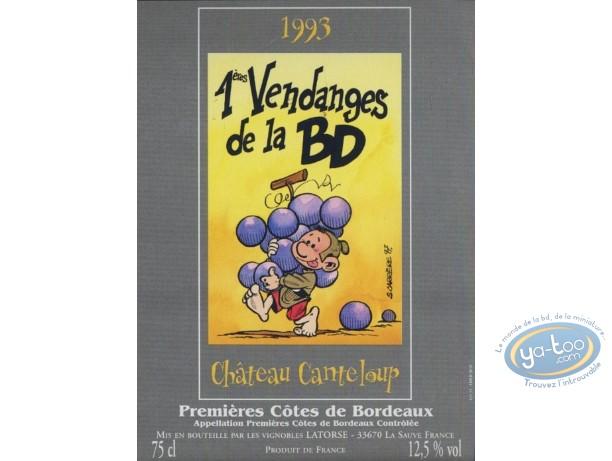 Etiquette de Vin, 1ères vendanges de la BD - Chateau Canteloup 1993
