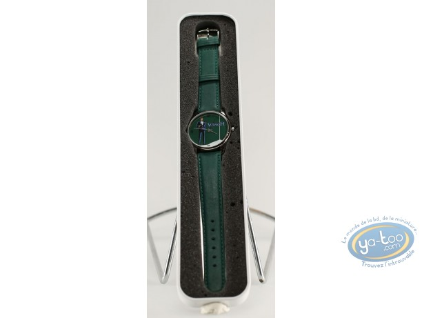 Horlogerie, Largo Winch : Montre, Pistolet fond vert (bracelet cuir vert)