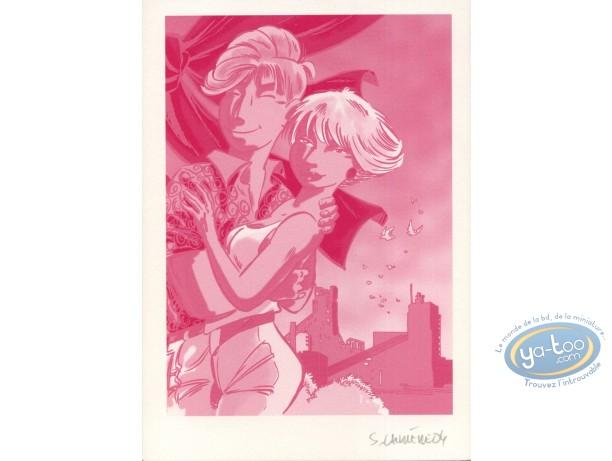 Ex-libris Offset, Léo Loden : Leo & Marlène (fond rouge, sans trait)