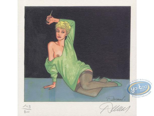 Ex-libris Offset, Jessica Blandy : Assise robe verte avec fume-cigarette