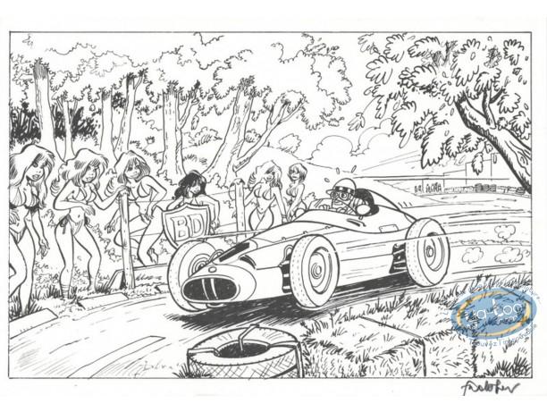 Ex-libris Offset, Pin-Up et Voitures : La course automobile
