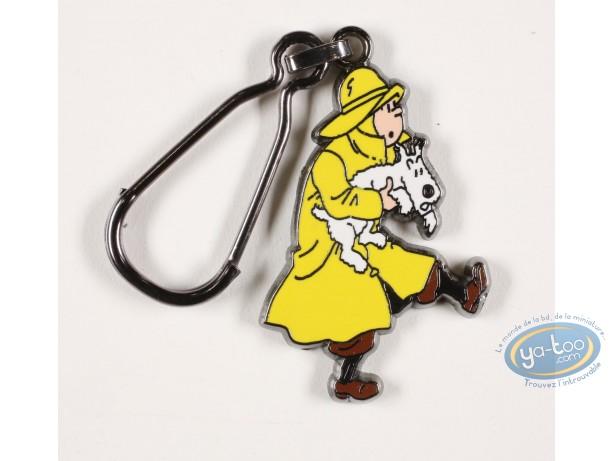 Porte-clé métal, Tintin : Tintin en imperméable sauve Milou