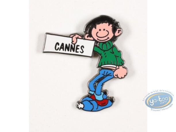 Pin's, Gaston Lagaffe : Gaston Lagaffe fait du stop pour Cannes