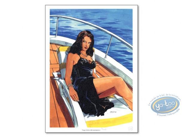 Ex-libris Offset, Tony Corso : Femme sur bateau