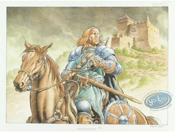 Ex-libris Offset, Légende : A cheval partant du château