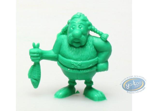 Figurine plastique, Astérix : Mini Ordralphabétix tenant un poisson (vert foncé)