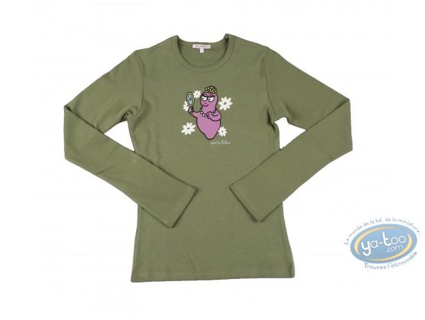 Vêtement, Barbapapa : T-shirt manches longues olive Barbapapa: taille L, miroir