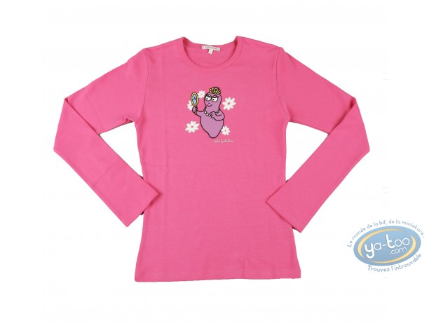 Vêtement, Barbapapa : T-shirt manches longues rose Barbapapa: taille S, miroir