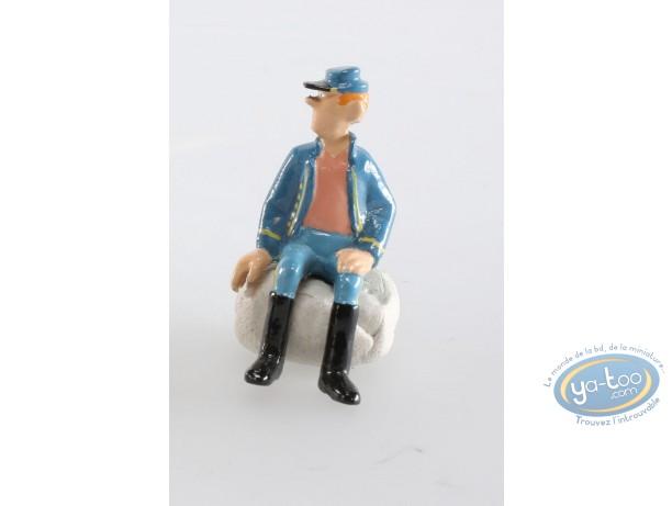 Figurine métal, Tuniques Bleues (Les) : Soldat assis main droite par terre uniforme ouvert