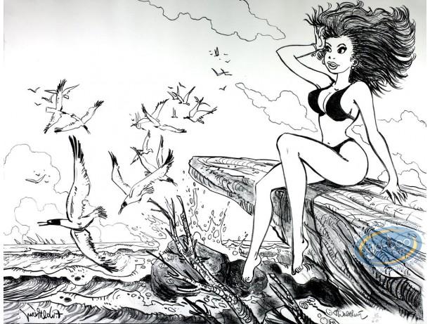 Lithographie, Natacha : Natacha sur les rochers et mouettes