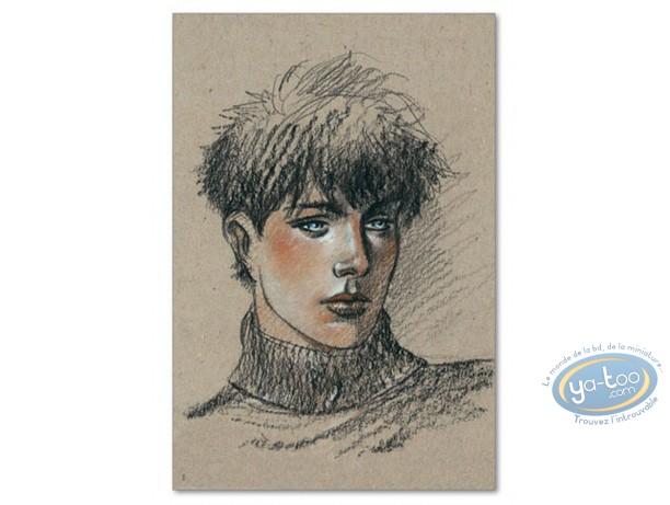 Affiche Offset, Cahier Bleu (Le) : Portrait de Louise sur fond beige
