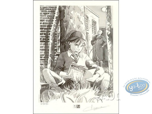 Ex-libris Offset, Sand de Lune : Garçon lisant