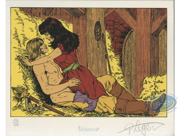 Ex-libris Sérigraphie, Dampierre : Couple dans le foin