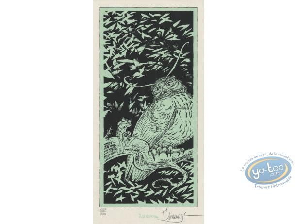 Ex-libris Sérigraphie, Garulfo : Hibou et Grenouille