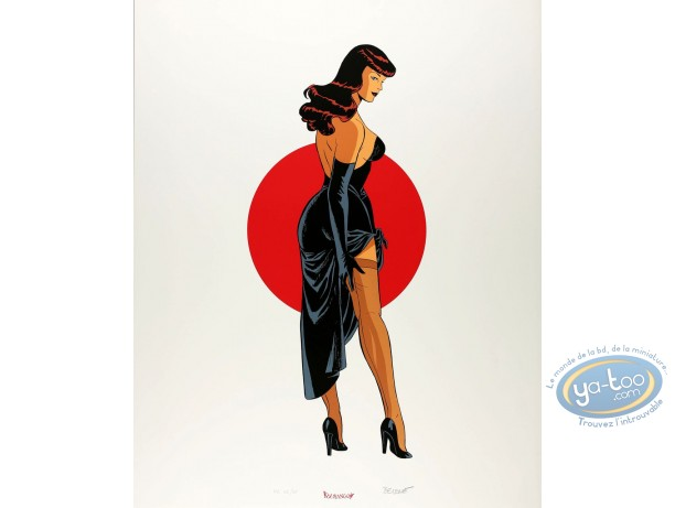 Affiche Sérigraphie, Pin-Up : Soleil rouge
