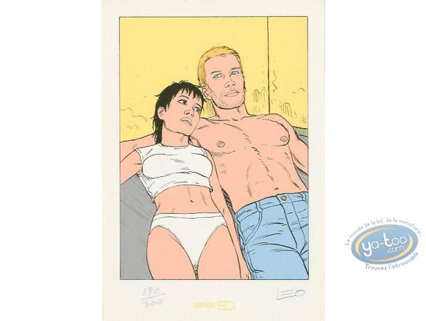 Ex-libris Sérigraphie, Aldebaran : Kim et Marc allongés