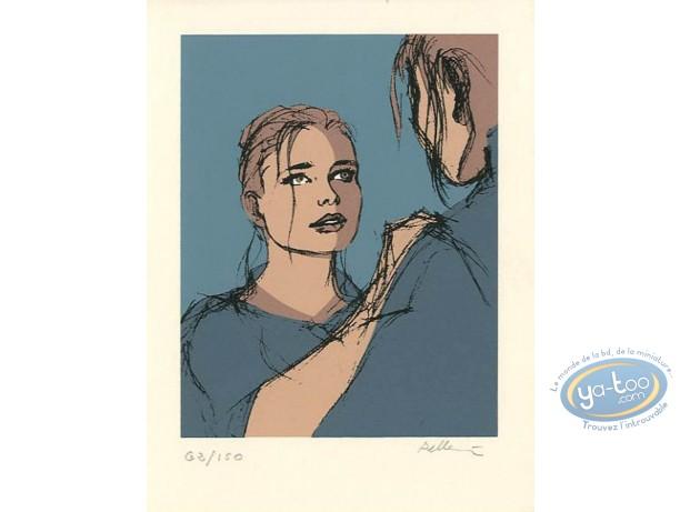 Ex-libris Sérigraphie, Epervier (L') : Marion (fond bleu)