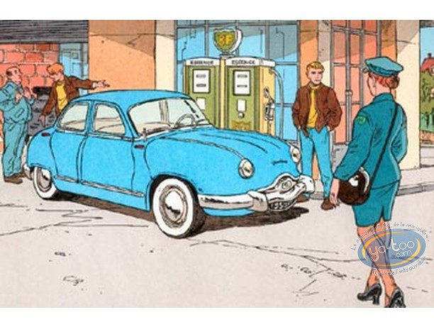 Aquarelle, Valhardi : Dyna Panhard 54 bleue