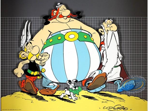 Affiche Sérigraphie, Astérix : Astérix, Obélix, Panoramix et Idéfix