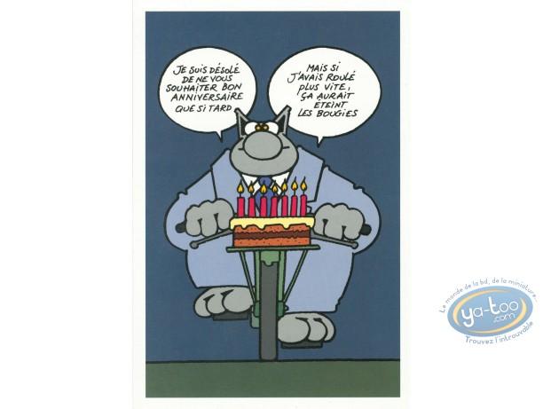 Carte postale, Chat (Le) : Gâteau à vélo