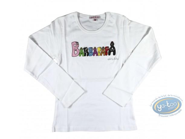 Vêtement, Barbapapa : T-shirt manches longues blanc Barbapapa pour enfant : taille 140/146, logo