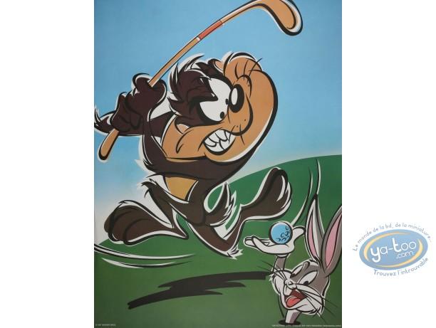 Affiche Offset, Taz : Taz golfeur 60X80 cm