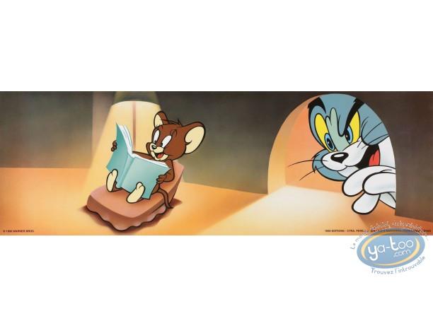 Affiche Offset, Tom et Jerry : La lecture 45X15 cm