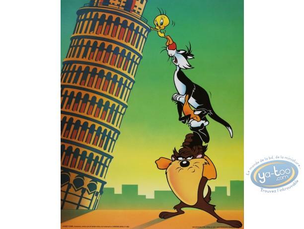 Affiche Offset, Looney Tunes (Les) : La tour de Pise 40X50 cm