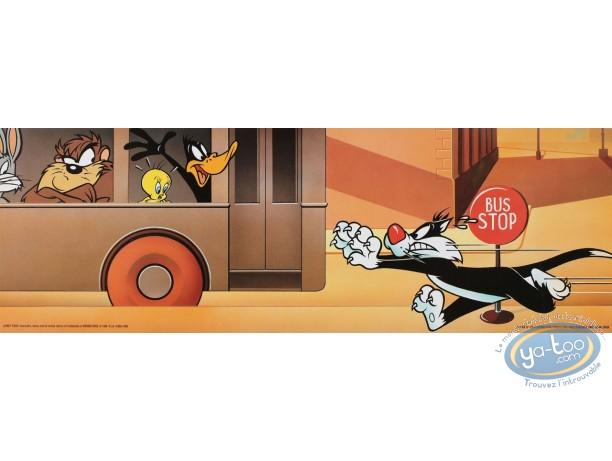 Affiche Offset, Looney Tunes (Les) : Le bus Looney 45X15 cm
