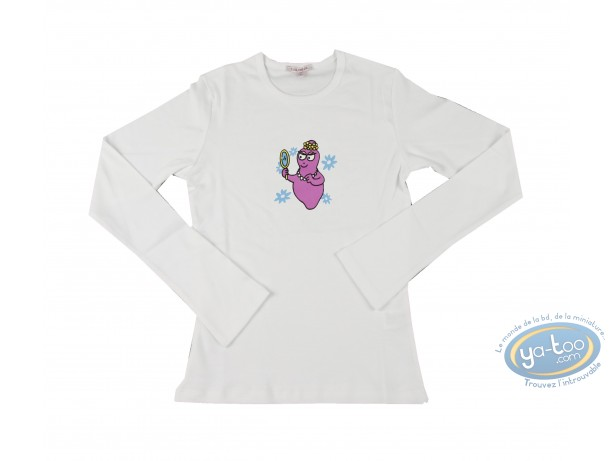 Vêtement, Barbapapa : T-shirt manches longues blanc Barbapapa: taille L, miroir