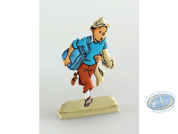 Figurine métal, Tintin : Tintin dans Coke en stock (bas relief)