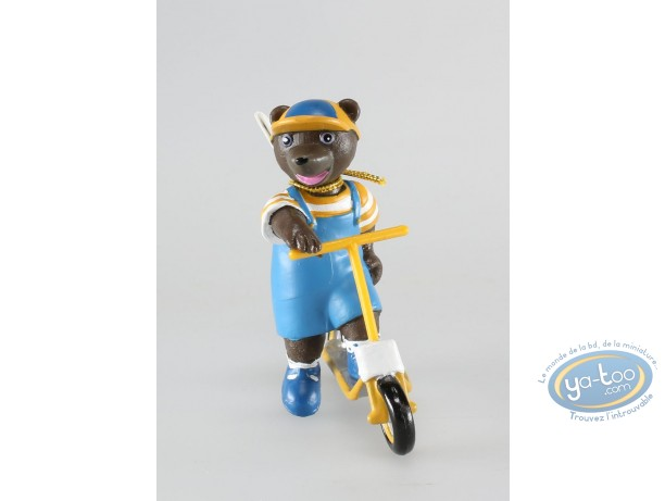 Figurine plastique, Petit Ours Brun : Petit ours brun à trotinette