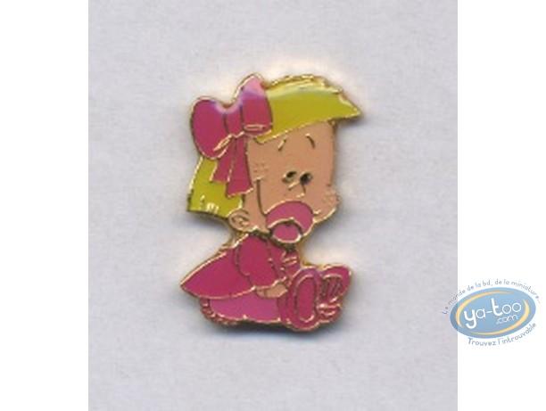 Pin's, BB de BD : Fille en robe et noeud rose