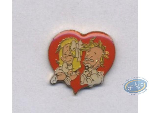 Pin's, BB de BD : Fille et garçon coeur