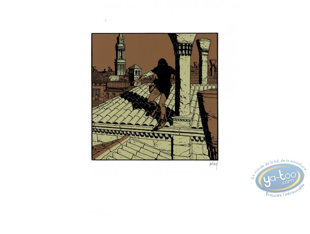 Affiche Sérigraphie, Quelque Chose de Bleu : Homme masqué sur les toits