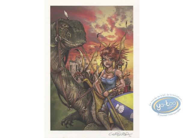 Ex-libris Offset, Cordoba, Guerrière et dragons