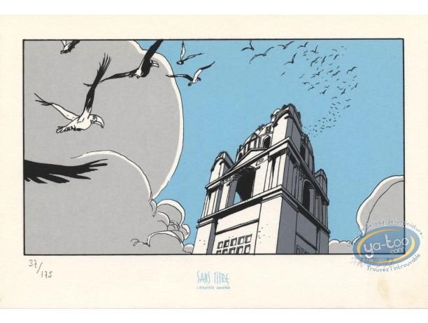 Ex-libris Sérigraphie, Fond du Monde (Le) : Oiseaux en vol