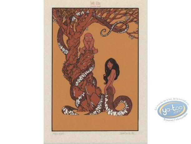 Ex-libris Sérigraphie, Cairn : Femme serpent