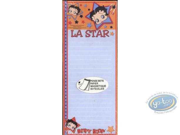 Fourniture bureau, Betty Boop : Pense-bête magnétique : Betty Boop 'La Star' (60 feuilles)