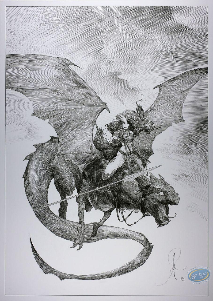 Affiche Offset, Geste des Chevaliers Dragons (La) : Guerrière chevauchant un dragon