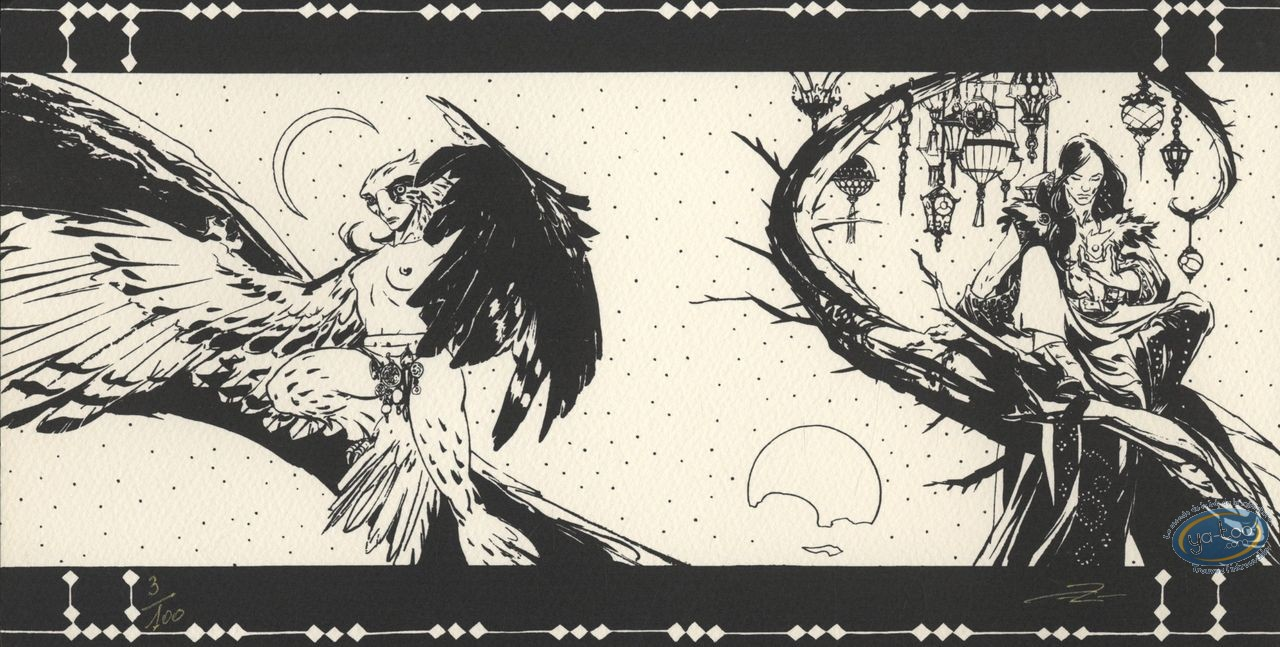 Ex-libris Sérigraphie, Lord Twilight : Lord Twilight & Falcon Lady (n&b)