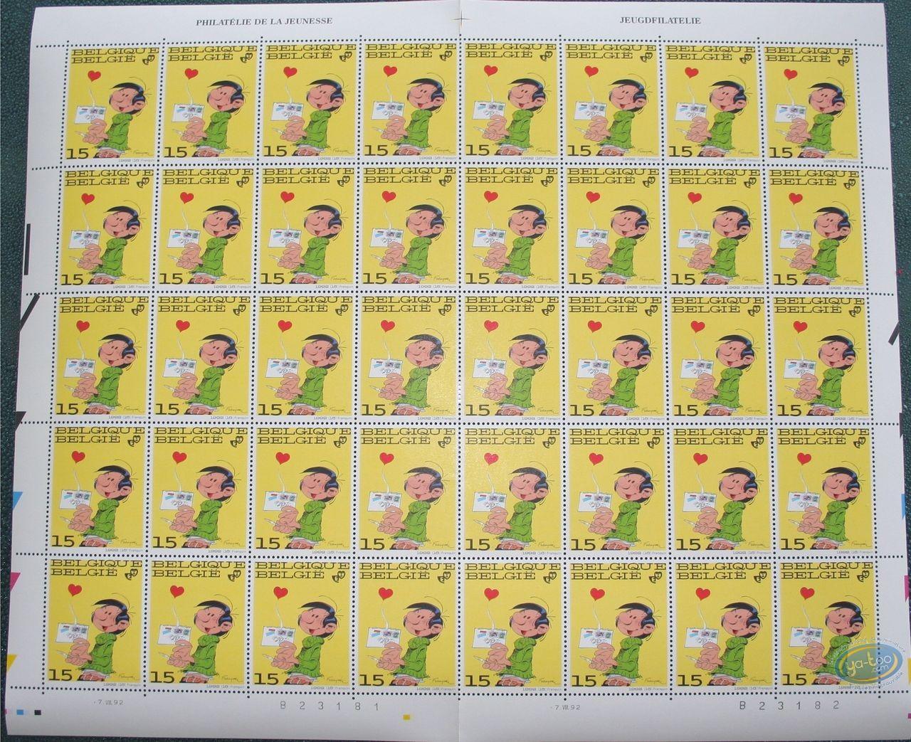 Timbre, Gaston Lagaffe : Planche de 40 timbres, Gaston Lagaffe