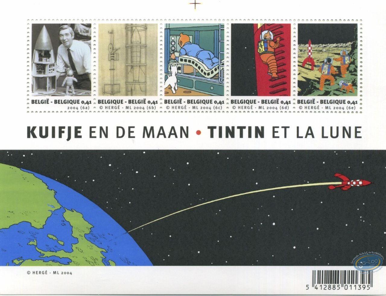 Timbre, Tintin : Planche de 5 timbres, Tintin