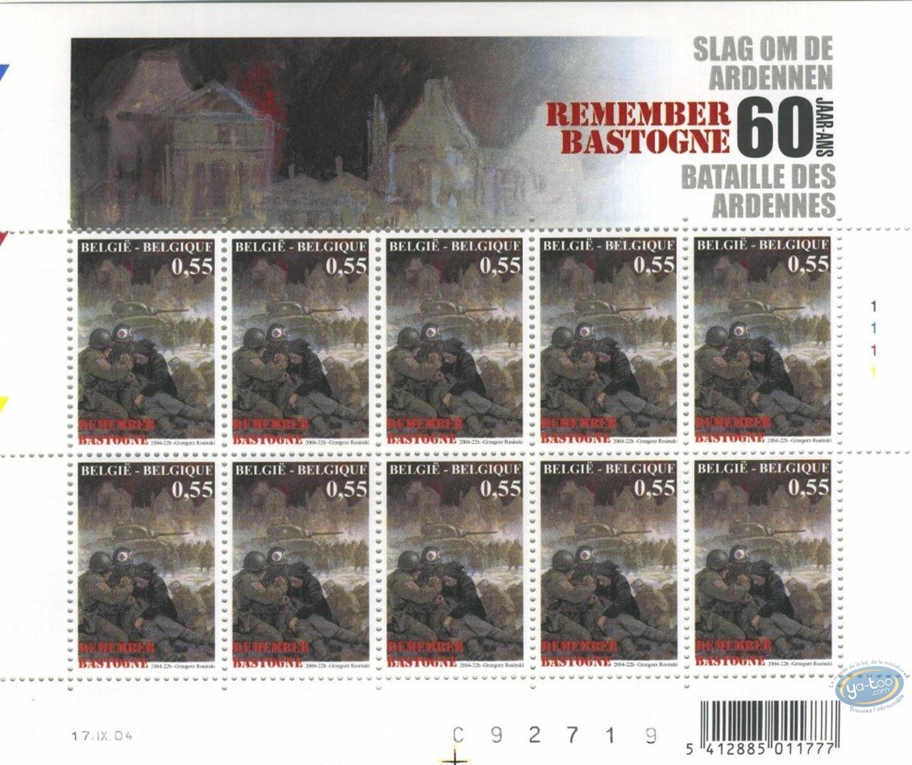 Timbre, Bataille des Ardennes (La) : Planche de 10 timbres Croix Rouge, Remember Bastogne