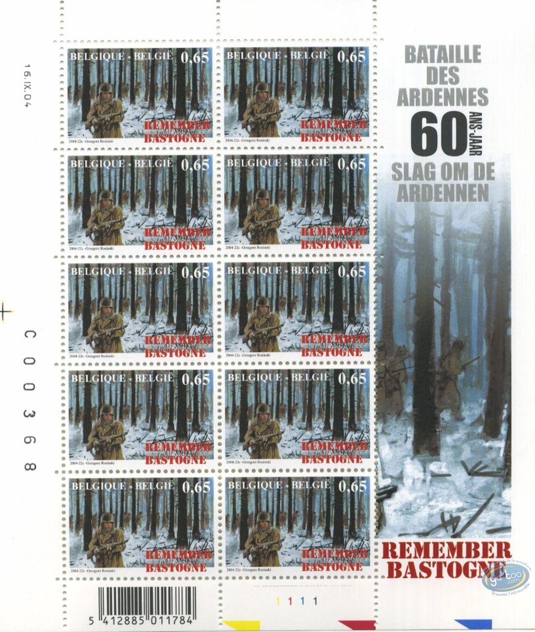 Timbre, Bataille des Ardennes (La) : Planche de 10 timbres Forêt, Remember Bastogne