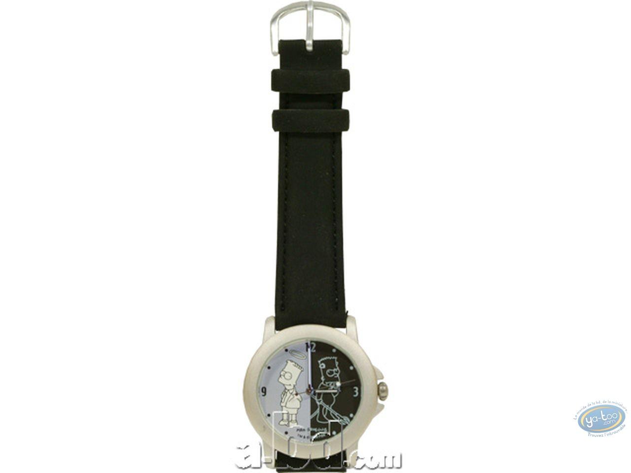 Horlogerie, Simpson (Les) : Montre, Bart n&b (bracelet cuir)