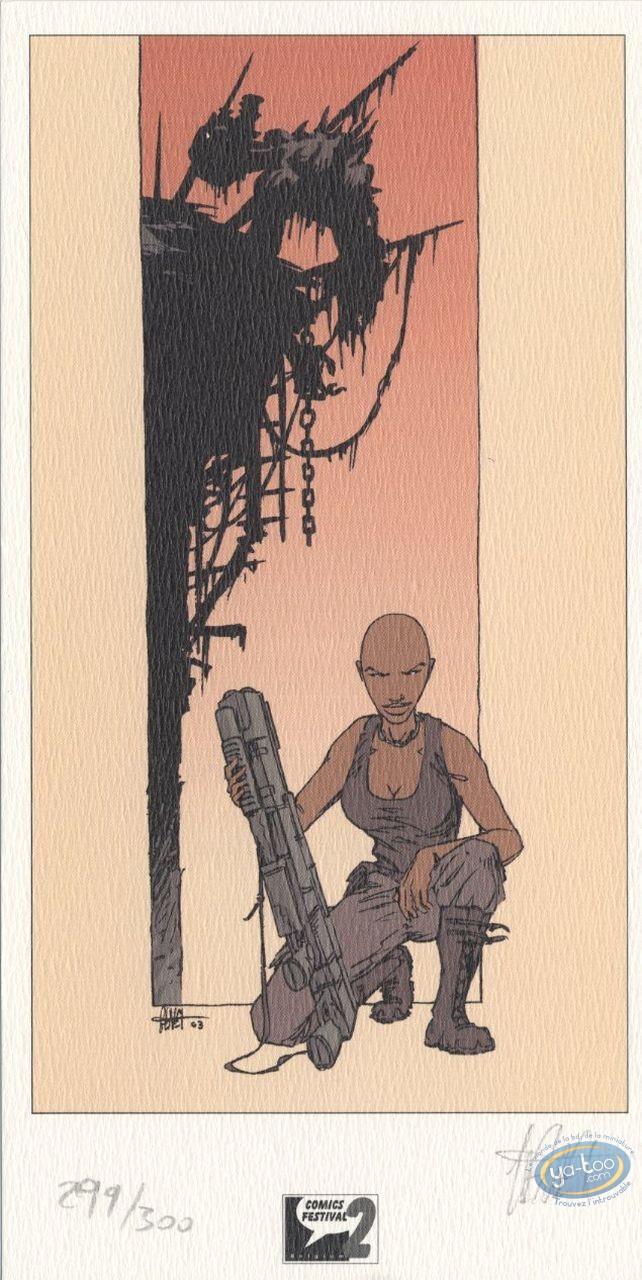 Ex-libris Offset, Mygala : Femme au fusil
